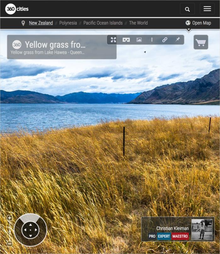 Foto 360 VR - Hierba dorada del Lago Hawea - Queenstown, Nueva Zelanda