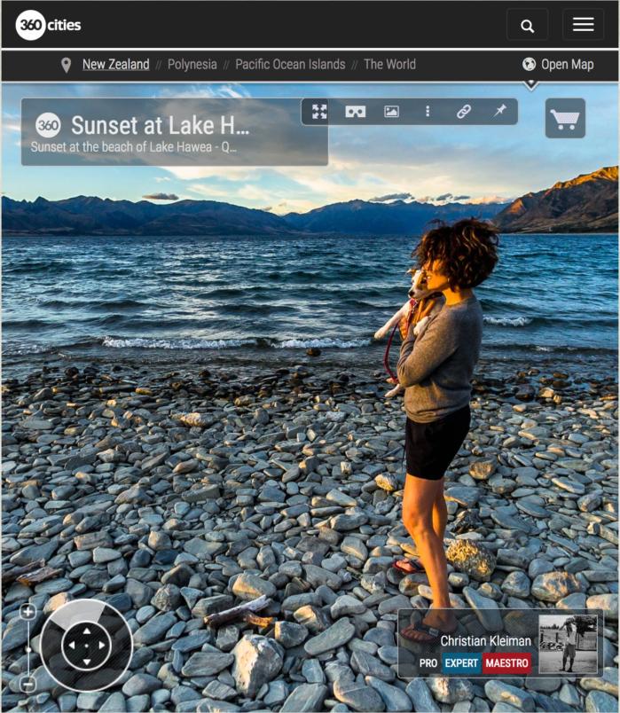 Foto 360 VR - Puesta de Sol en la playa del Lago Hawea - Queenstown, Nueva Zelanda