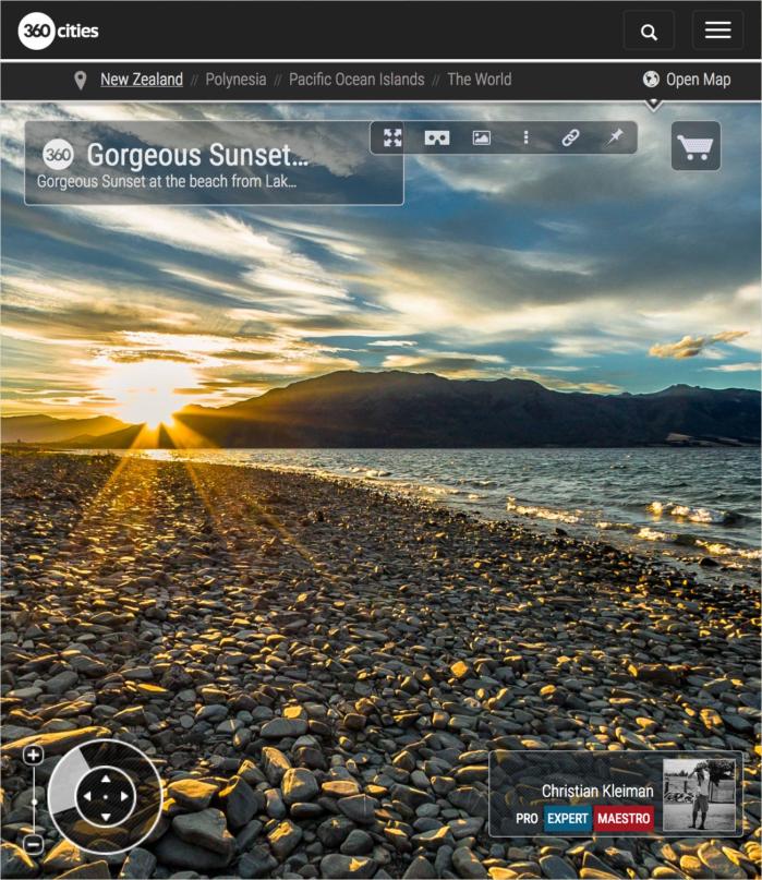 Foto 360 VR - Hermosa Puesta de Sol en Lago Hawea - Queenstown, Nueva Zelanda