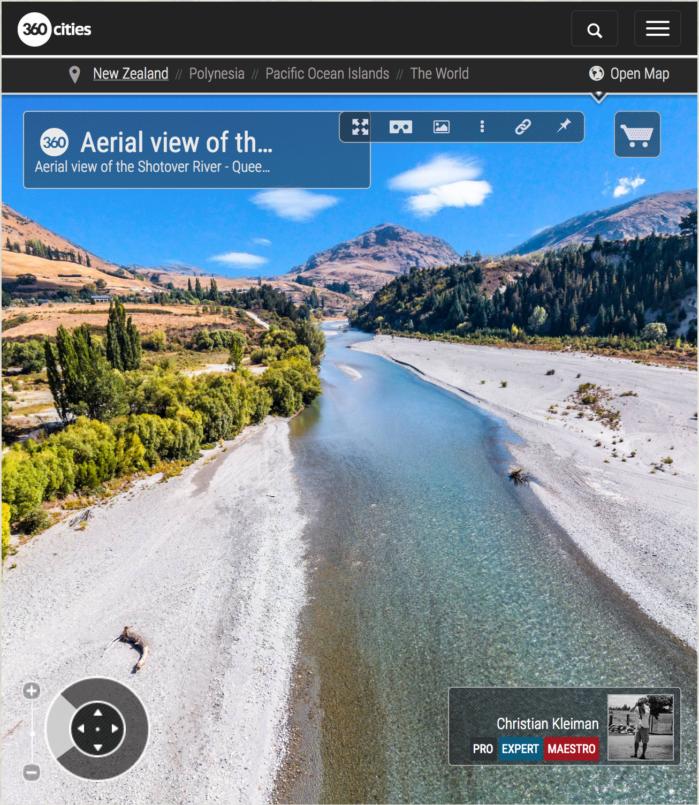 Foto aérea 360 VR del río Shotover - Queenstown, Nueva Zelanda