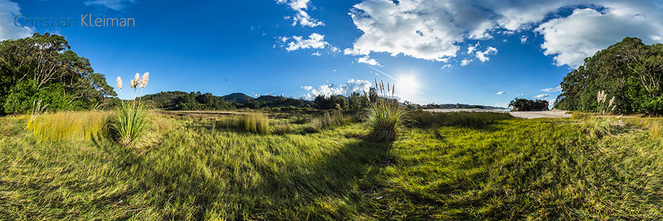 360 VR Photo. Beautiful Landscape at Whiritoa Beach. Coromandel, New Zealand