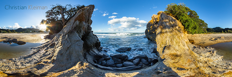 360 VR Photo. Amazing Whiritoa Beach. Coromandel - Waikato, New Zealand