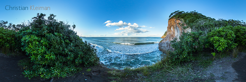 360 VR Photo. Beautiful Lookout from Whiritoa Cliffs. Coromandel. Waikato, New Zealand