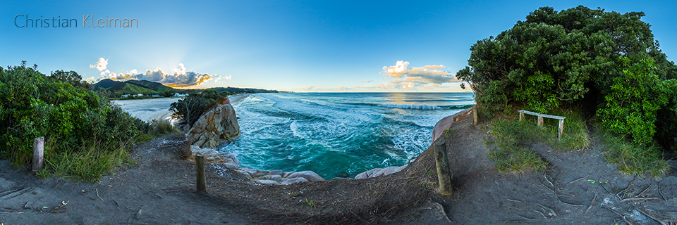 360 VR Photo. Dangerous Waves at Whiritoa Beach. Coromandel. Waikato, New Zealand