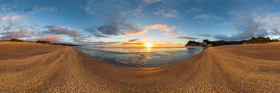 360 VR Photo. Spectacular Sunrise at Whiritoa Beach. Coromandel. Waikato, New Zealand