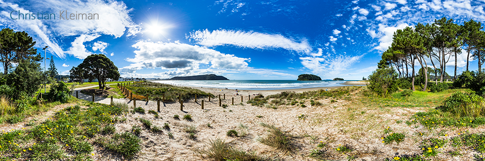 360 VR Photo. Williamson Park at Whangamata Beach. Coromandel. Waikato, New Zealand