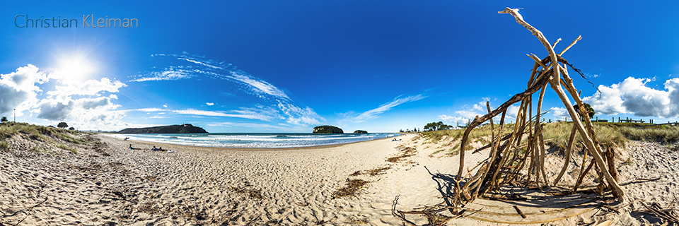 360 VR Photo. Sunshade at Whangamata Beach. Coromandel. Waikato, New Zealand