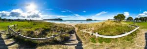 Foto 360 VR. Acceso a la playa de Whangamata. Coromandel. Waikato, Nueva Zelanda