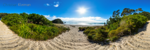 Foto 360 VR. Acceso a la playa de Whiritoa. Coromandel. Waikato, Nueva Zelanda