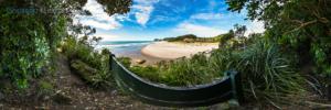 Foto 360 VR. Mirador a la playa de Whiritoa. Coromandel. Waikato, Nueva Zelanda