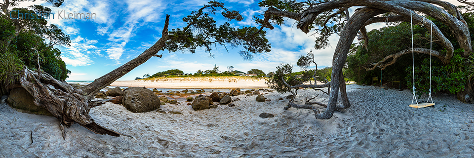 360 VR Photo. Swing at Whiritoa Beach. Coromandel. Waikato, New Zealand