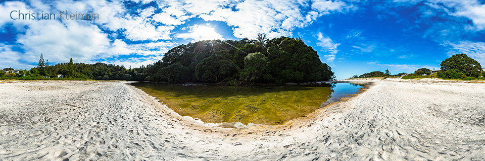 360 VR Photo. Ramarama Stream at Whiritoa Beach. Coromandel. Waikato, New Zealand