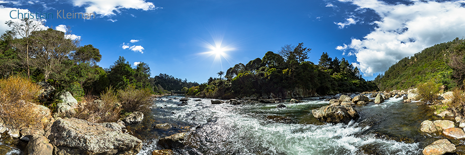 360 VR Photo. Ohinemuri River at The Crown Mines - Karangahake Gorge. Coromandel. Waikato, New Zealand