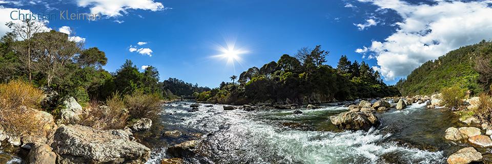 360 VR Photo. Ohinemuri River at The Crown Mines - Karangahake Gorge. Coromandel. Waikato, New Zealand