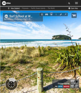 360 VR Photo. Surf School at Whangamata Beach. Coromandel. Waikato, New Zealand