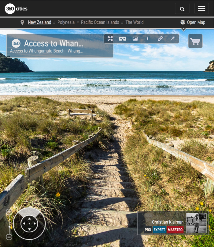 360 VR Photo. Access to Whangamata Beach. Coromandel. Waikato, New Zealand