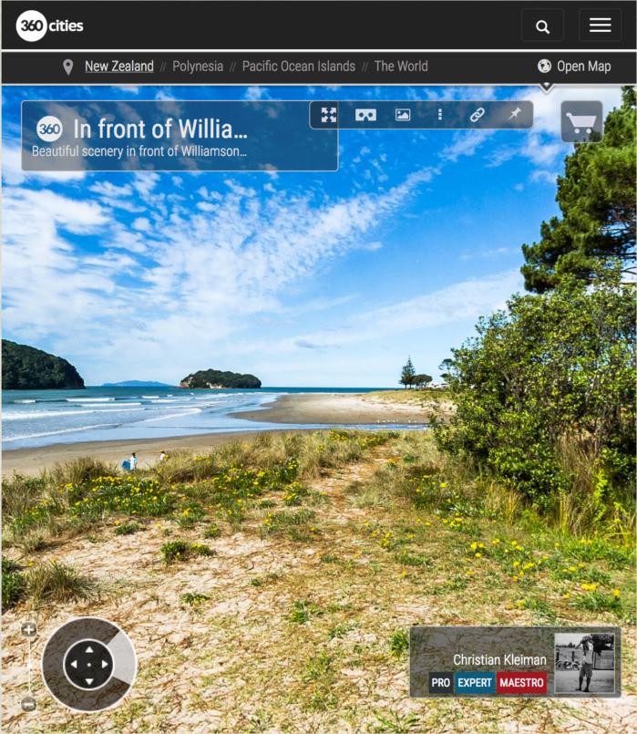 Foto 360 VR. Williamson Park en Whangamata. Coromandel. Waikato, Nueva Zelanda