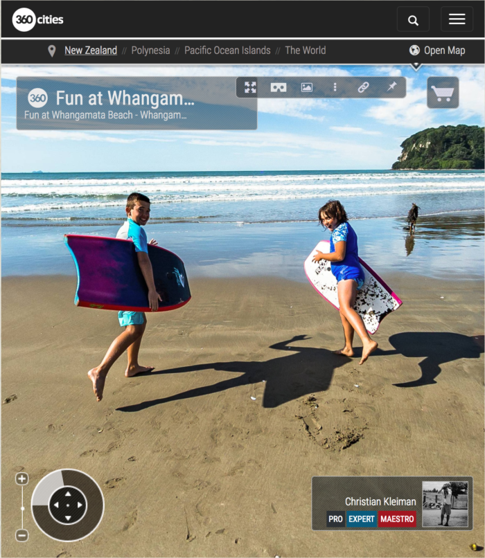 360 VR Photo. Fun at Whangamata Beach. Coromandel. Waikato, New Zealand