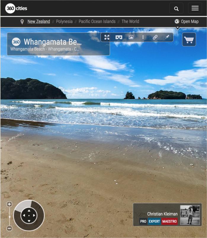 Foto 360 VR. Playa de Whangamata. Coromandel. Waikato, Nueva Zelanda