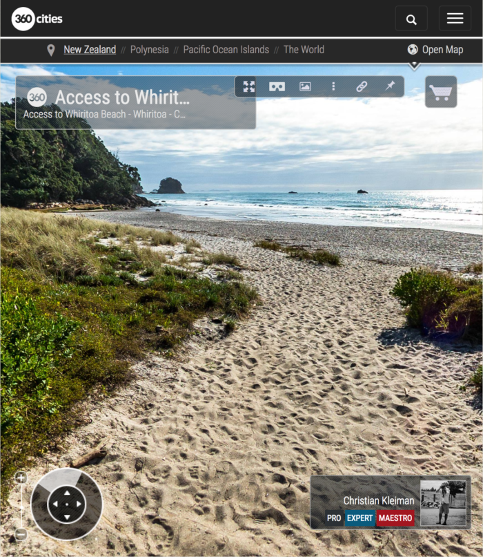 360 VR Photo. Access to Whiritoa Beach. Coromandel. Waikato, New Zealand