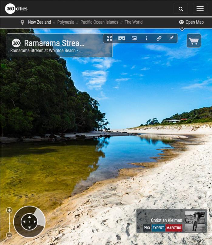 Foto 360 VR. Arroyo de Ramarama en Whiritoa. Coromandel. Waikato, Nueva Zelanda