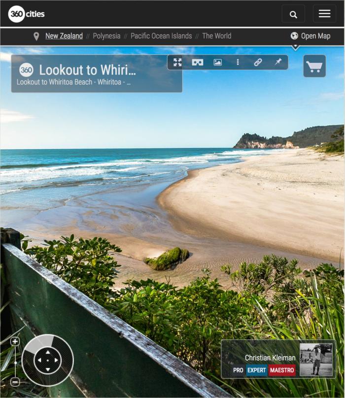360 VR Photo. Lookout to Whiritoa Beach. Coromandel. Waikato, New Zealand