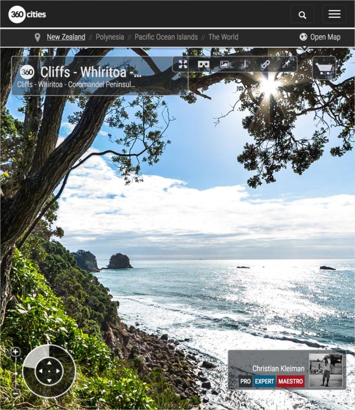 Foto 360 VR. Acantilados de Whiritoa. Coromandel. Waikato, Nueva Zelanda