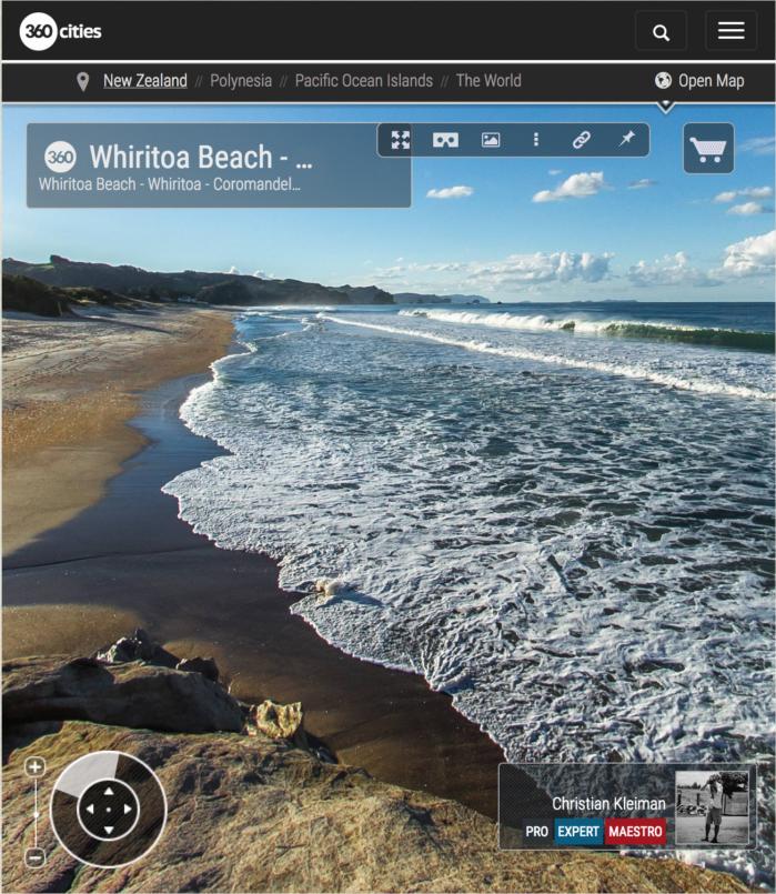 Foto 360 VR. Playa de Whiritoa. Coromandel. Waikato, Nueva Zelanda
