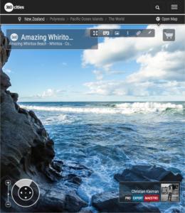 Foto 360 VR. Increíble playa de Whiritoa. Coromandel. Waikato, Nueva Zelanda