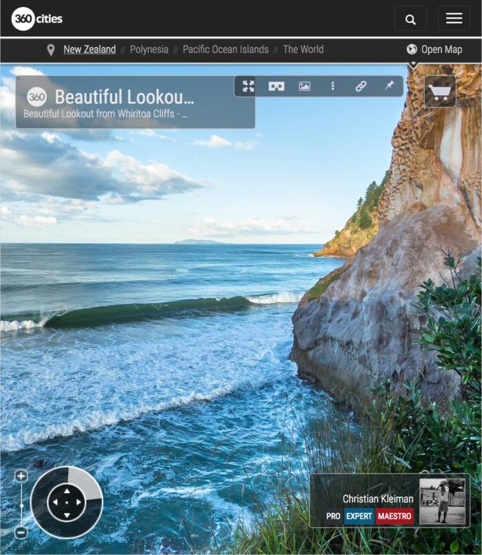 Foto 360 VR. Mirador en los acantilados de Whiritoa. Coromandel. Waikato, Nueva Zelanda