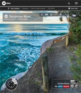 Foto 360 VR. Olas peligrosas en la playa de Whiritoa. Coromandel. Waikato, Nueva Zelanda