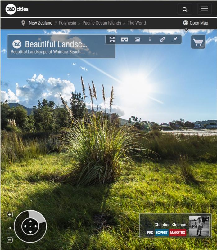 Foto 360 VR. Precioso paisaje en la playa de Whiritoa. Coromandel. Waikato, Nueva Zelanda