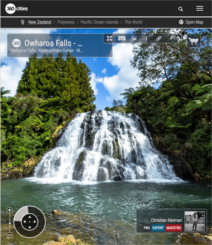 360 VR Photo. Owharoa Falls at Karangahake Gorge. Coromandel. Waikato, New Zealand
