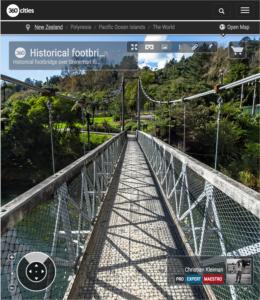 360 VR Photo. Historical footbridge over Ohinemuri River at The Crown Mines - Karangahake Gorge. Coromandel. Waikato, New Zealand