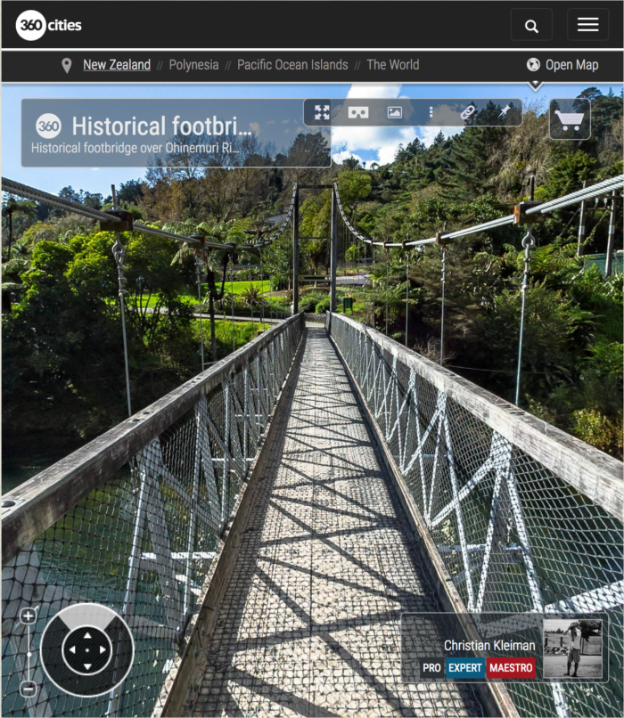 360 VR Photo. Historical footbridge over Ohinemuri River at The Crown Mines - Karangahake Gorge. Coromandel. Waikato, New Zealand